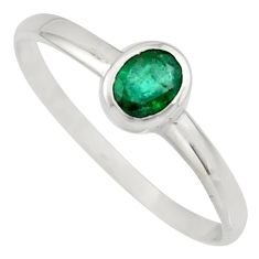 0.74cts natural green emerald 925 silver solitaire ring jewelry size 7.5 r7708