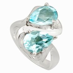 5.56cts natural blue topaz 925 sterling silver ring jewelry size 7.5 r7723