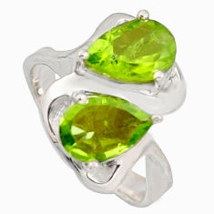 5.21cts natural green peridot 925 sterling silver ring jewelry size 7.5 r7730