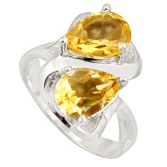 5.41cts natural yellow citrine 925 sterling silver ring jewelry size 8.5 r7734