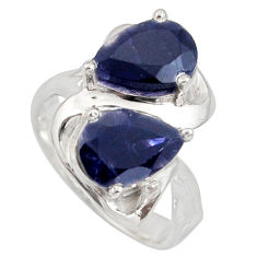 925 sterling silver 5.41cts natural blue iolite pear ring jewelry size 6 r7740