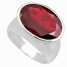 10.16cts natural red garnet 925 sterling silver solitaire ring size 6.5 r7756