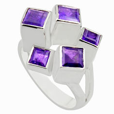 925 sterling silver 3.08cts natural purple amethyst ring jewelry size 10.5 r7764