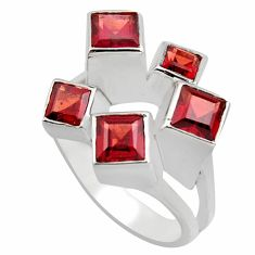 3.08cts natural red garnet square 925 sterling silver ring jewelry size 7 r7767