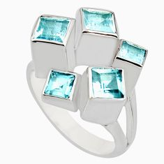 3.14cts natural blue topaz 925 sterling silver ring jewelry size 9 r7768