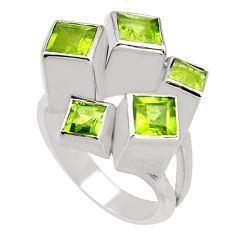 3.14cts natural green peridot 925 sterling silver ring jewelry size 8 r7775