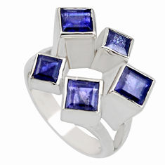 925 sterling silver 3.01cts natural blue iolite ring jewelry size 7.5 r7777