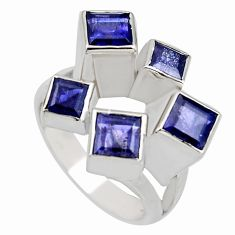 3.19cts natural blue iolite 925 sterling silver ring jewelry size 9 r7779
