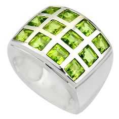 925 sterling silver 6.74cts natural green peridot ring jewelry size 7.5 r7793