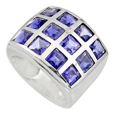 925 sterling silver 6.54cts natural blue iolite ring jewelry size 7.5 r7797