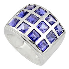 6.31cts natural blue iolite 925 sterling silver ring jewelry size 5.5 r7798