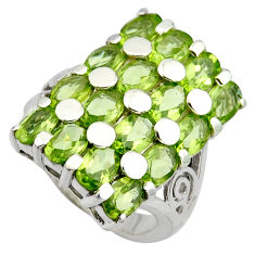 925 sterling silver 17.47cts natural green peridot ring jewelry size 7.5 r7810