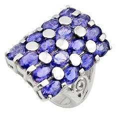 17.16cts natural blue iolite 925 sterling silver ring jewelry size 7.5 r7818