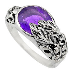 4.13cts natural purple amethyst 925 silver solitaire ring jewelry size 9 r7830