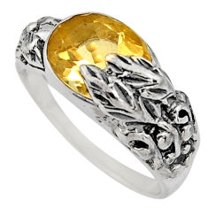 4.36cts natural yellow citrine 925 silver solitaire ring jewelry size 8.5 r7831
