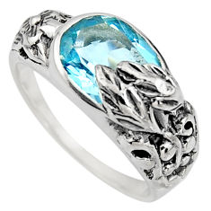 4.36cts natural blue topaz 925 sterling silver solitaire ring size 8 r7835