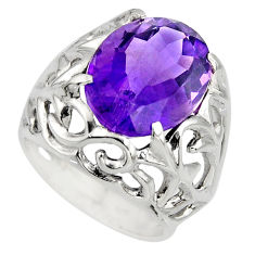 11.11cts natural purple amethyst 925 silver solitaire ring size 6.5 r7843
