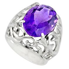 10.67cts natural purple amethyst 925 silver solitaire ring size 6.5 r7845