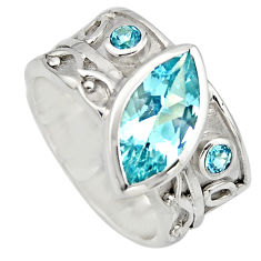 925 sterling silver 6.31cts natural blue topaz solitaire ring size 6.5 r7848