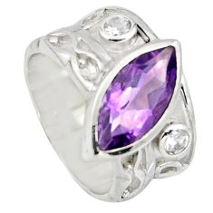6.78cts natural purple amethyst topaz 925 silver solitaire ring size 7.5 r7855
