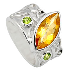 925 silver 7.11cts natural yellow citrine peridot solitaire ring size 6.5 r7856
