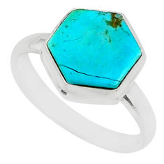 5.21cts blue arizona mohave turquoise 925 silver solitaire ring size 8 r80115
