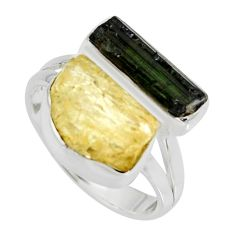 10.60cts scapolite tourmaline rough tourmaline rough silver ring size 8.5 r8621