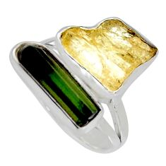10.57cts scapolite tourmaline rough tourmaline rough silver ring size 8 r8623