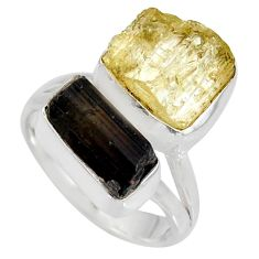 9.86cts scapolite tourmaline rough tourmaline rough 925 silver ring size 6 r8628