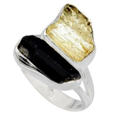 9.85cts scapolite tourmaline rough tourmaline rough 925 silver ring size 8 r8629