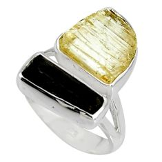 9.04cts scapolite tourmaline rough tourmaline rough 925 silver ring size 6 r8633
