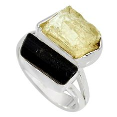 10.24cts scapolite tourmaline rough tourmaline rough silver ring size 7 r8636