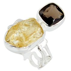 10.24cts scapolite smoky topaz 925 sterling silver ring jewelry size 7 r8642