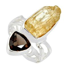 9.86cts scapolite smoky topaz 925 sterling silver ring jewelry size 6 r8643