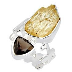 925 sterling silver 10.24cts scapolite smoky topaz ring jewelry size 6 r8644