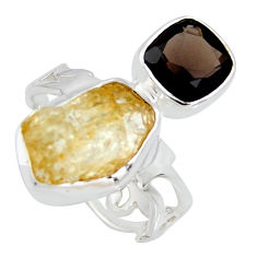 10.24cts scapolite smoky topaz 925 sterling silver ring jewelry size 8 r8647
