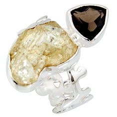 10.24cts scapolite smoky topaz 925 sterling silver ring jewelry size 7.5 r8648