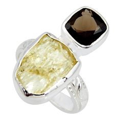 9.47cts scapolite smoky topaz 925 sterling silver ring jewelry size 6 r8650