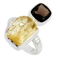 10.25cts scapolite smoky topaz 925 sterling silver ring jewelry size 6.5 r8651