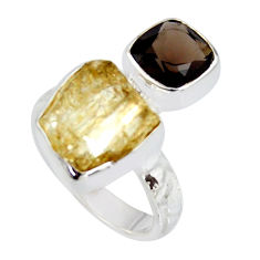 10.48cts scapolite fancy smoky topaz 925 sterling silver ring size 7 r8652