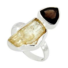 8.73cts scapolite smoky topaz 925 sterling silver ring jewelry size 5.5 r8653