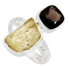 10.84cts scapolite smoky topaz 925 sterling silver ring jewelry size 6.5 r8654