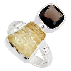 925 sterling silver 10.24cts scapolite smoky topaz ring jewelry size 6.5 r8655