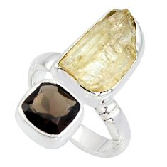 9.86cts scapolite smoky topaz 925 sterling silver ring jewelry size 6 r8656