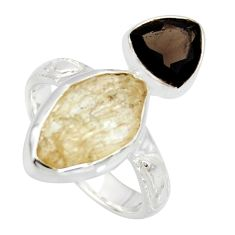 9.86cts scapolite smoky topaz 925 sterling silver ring jewelry size 7.5 r8657
