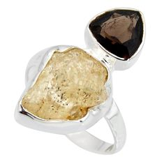 925 sterling silver 8.91cts scapolite smoky topaz ring jewelry size 6.5 r8658