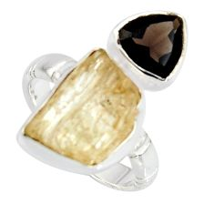 10.84cts scapolite smoky topaz 925 sterling silver ring jewelry size 6.5 r8659