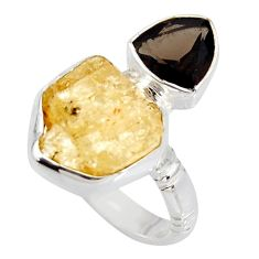 10.60cts scapolite smoky topaz 925 sterling silver ring jewelry size 8 r8660
