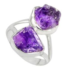 925 silver 9.86cts natural purple amethyst rough fancy shape ring size 8 r8733