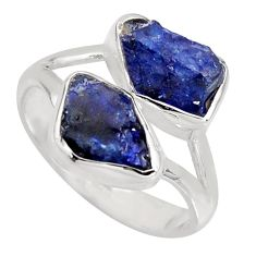 925 sterling silver 9.05cts natural blue sapphire rough fancy ring size 8 r8744